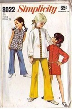 1968 GIRLS' MINI-DRESS or TOP & BELL-BOTTOM PANTS Pattern 8022-s Size 8 ... - $9.99