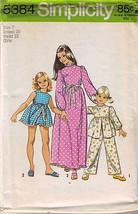 1972 PAJAMAS & NIGHTGOWN Pattern 5384-s Girl Size 7 - UNCUT - $10.69