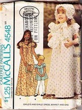 1975 Girls' DRESS, BONNET & BAG Pattern 4548-m Size 4 - Complete - $9.99