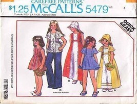 1977 DRESS or TOP & HAT Pattern 5479-m - size 4 - $9.99