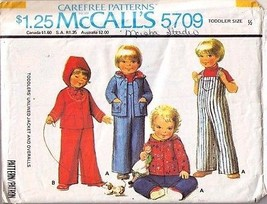 1977 TODDLERS' UNLINED JACKET & OVERALLS Pattern 5709-m - Size 1/2 - UNCUT - $12.99