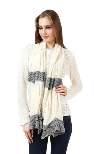 Cream White Matte Weave Scarf NEW