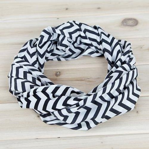Tula Unique new chevron style dark white and black infinity scarf