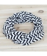 Tula Unique new chevron style dark white and black infinity scarf  - £19.43 GBP
