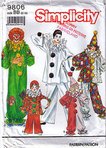 1990 Clown Costume Pattern 9806-s Child Size 2-12 complete - $9.99
