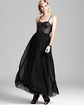 Alice + Olivia Black Ciel Studded Leather Bodice Maxi Dress NWT SIZE 2 - $246.51