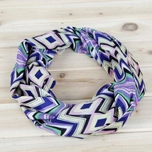 Lexi Unique new chevron and diamond style purple and yellow infinity scarf