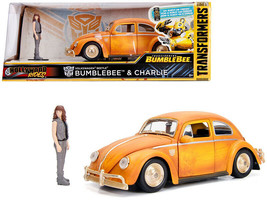 "VW BEETLE WEATHERED YELLOW W/CHARLIE FIGURE ""BUMBLEBEE"" MOVIE 1/24 BY JA... - $36.95"