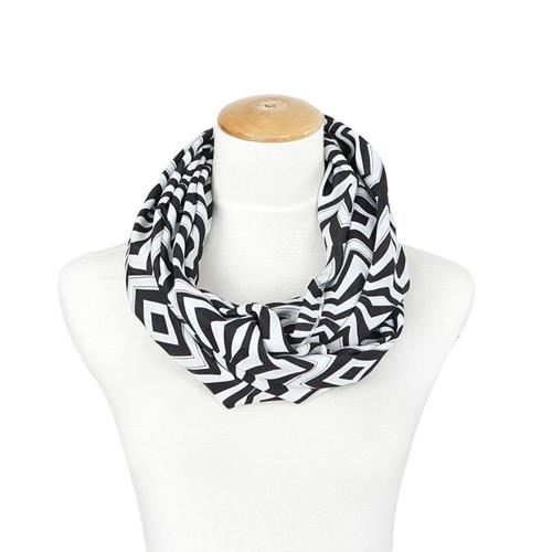 Lexi Unique new chevron and diamond style black and white infinity scarf