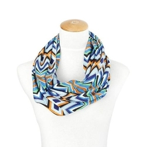 Lexi Unique new chevron and diamond style blue tones infinity scarf
