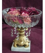Vintage Glass Bowl on Metal Stand with Marble B... - $64.95