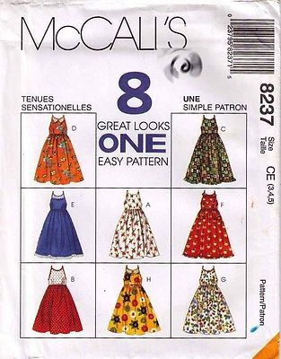 1996 SUNDRESS Pattern 8237-m Girl Size 3, 4, 5 UNCUT