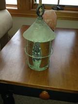 "Vintage 1920""s copper gold glass hanging porch light - $95.00"