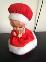 Vintage Christmas Doll music box dressed in santa like outfit made in Ho... - $20.00