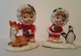 Lot Pair of 2 Lefton Figurines Child Penguin Deer Hand Painted 8284 Chri... - $19.99