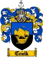 Primary image for Craik Family Crest / Coat of Arms JPG or PDF Image Download