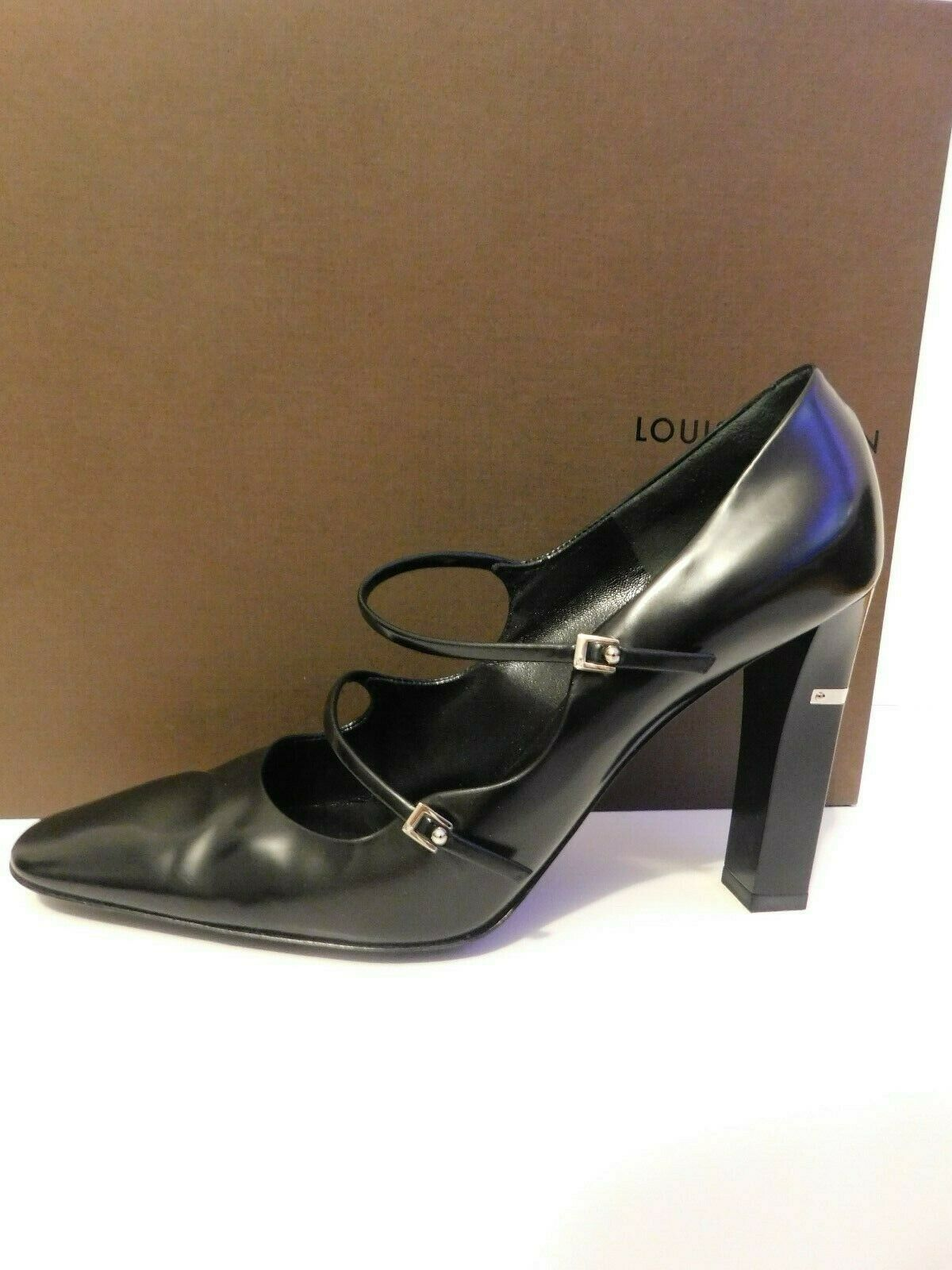 LOUIS VUITTON BLACK PUMPS SIZE 38.5 AUTHENTIC