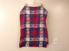 Vintage Violet/Blue - Red - White Tablecloth Apples Design 100% Cotton - $19.99