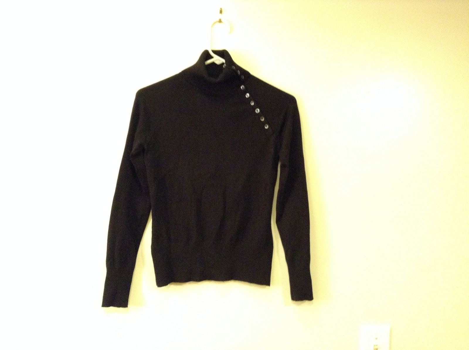 Whistles London Ladies Black Turtleneck Sweater size 1 Buttons Along Neck line
