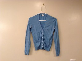 J.Crew Ladies Sky Blue 100% Cotton V-Neck Cardigan size XS Front Small Pockets