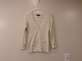 Express Design Studio Off-White Silk Cardigan Sweater size XS V-neck Pockets