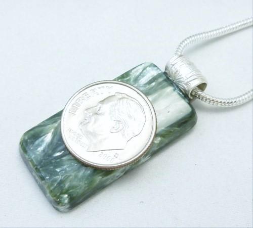 Seraphinite square gemstone sterling silver pendant 2b1afd94