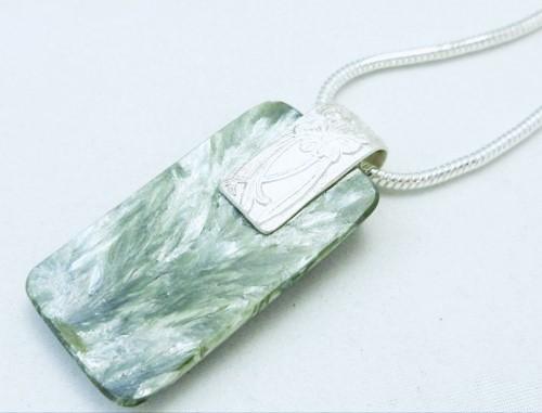 Natural Seraphinite Gemstone Sterling Silver Pendant Rectangle Green