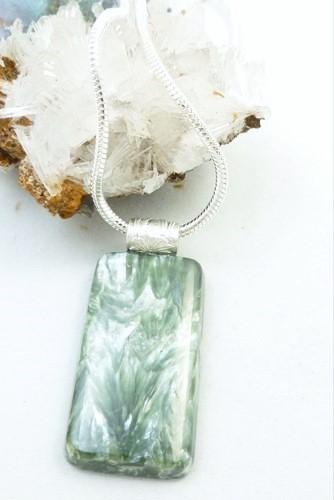 Seraphinite square gemstone sterling silver pendant 40adc0a2