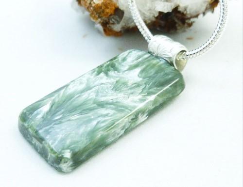 Seraphinite square gemstone sterling silver pendant 84bbfffe