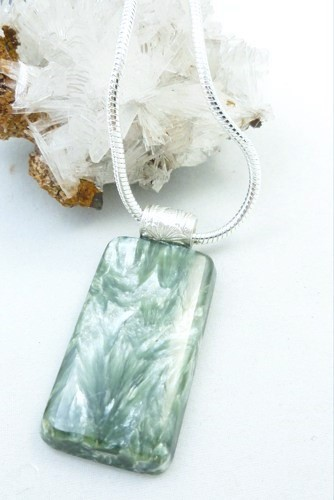 Natural Seraphinite Gemstone Sterling Silver Pendant Rectangle Green