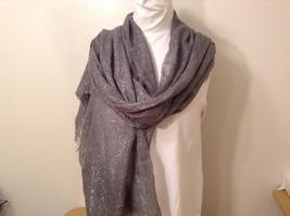 Gray Metallic Silver Threads Scarf or Shawl 100% Acrylic
