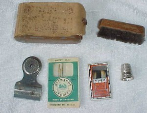 leath/metal- sewing kit + terrific Red Devil whistle/razor blade holder/seam rip