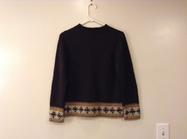 Christopher & Banks Dark Green Knitted Sweater with Snowflakes trim size S image 2