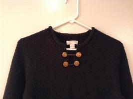 Christopher & Banks Dark Green Knitted Sweater with Snowflakes trim size S image 3