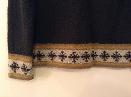 Christopher & Banks Dark Green Knitted Sweater with Snowflakes trim size S image 7