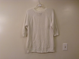 Sonoma Knitted White Scoop Neck 1/2 Sleeve Acrylic Sweater size XL image 2