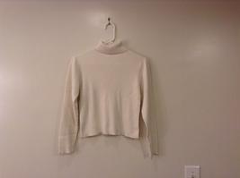 Christie Brooks White 100% Cotton Turtleneck Sweater size XL (16) JR / adult S/M image 1