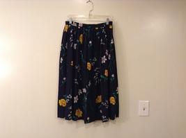 Alfred Dunner Navy Blue Floral Pattern Skirt Polyester size 16 Elastic Waist