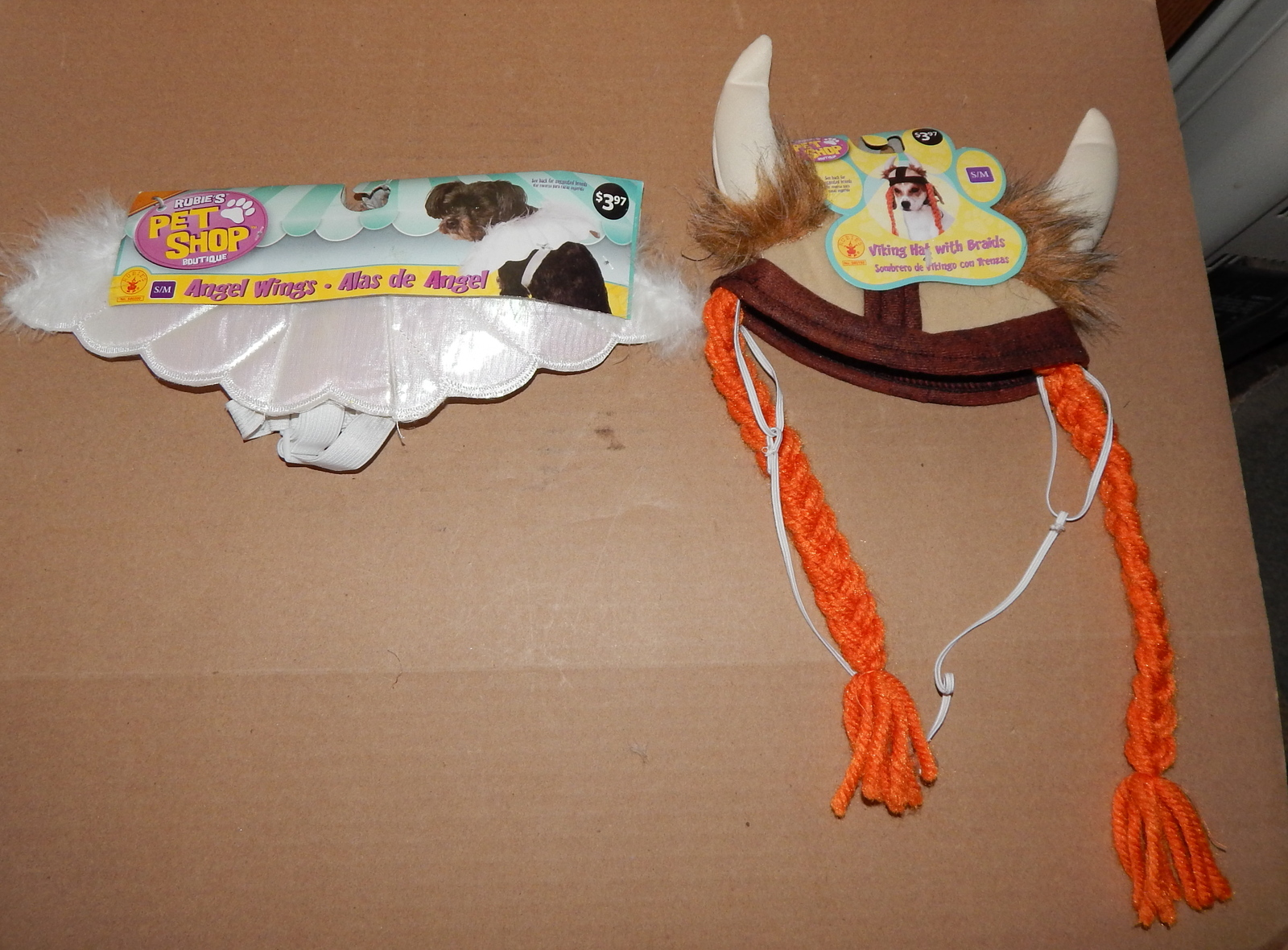 Halloween Dog Pet Costume Angel Wings & Viking Hat With Braids S/M Rubies 71Y
