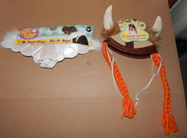 Halloween Dog Pet Costume Angel Wings & Viking Hat With Braids S/M Rubies 71Y - $6.92