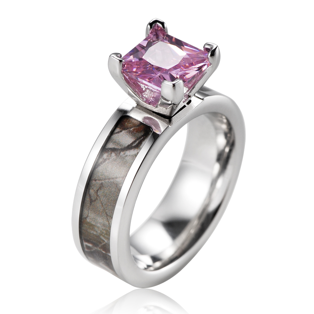 Titanium pink CZ with 14k gold plated bezel Brown Tree Camo Engagement Ring