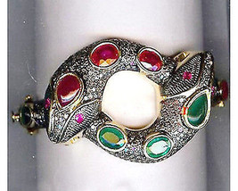 Snake Victorian Inspired 4.89Ctw Rose Cut Diamond Silver Cuff Ruby Brace... - $701.01