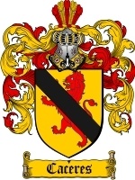 Primary image for Caceres Family Crest / Coat of Arms JPG or PDF Image Download