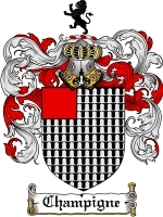 Primary image for Champigne Family Crest / Coat of Arms JPG or PDF Image Download
