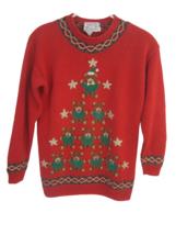 Talbots vintage Women Sweater Ugly Christmas Teddy Bear Christmas Tree s... - $34.64