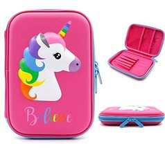 Unicorn Pencil Case for Girls Kids Large Capacity Hardtop Pen Holder Box with Co