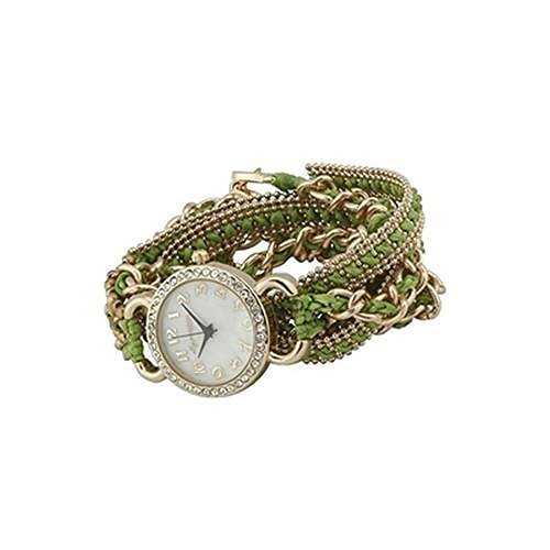 Ainsley Wrap Watch in Green and Gold [Jewelry]