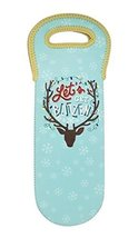 "Wine and Spirit Bottle Insulated Tote ""Let's Get Blitzen"" Christmas Holiday T..."