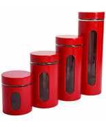 Canister Set Storage Red Counter-top Pasta Sugar Coffee - £32.56 GBP