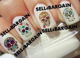 Sugar Skulls Day Of The Dead #2》Tattoo Nail Art Decals《Non Toxic - $16.99